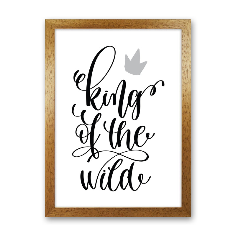 King Of The Wild Black  Art Print by Pixy Paper Oak Grain