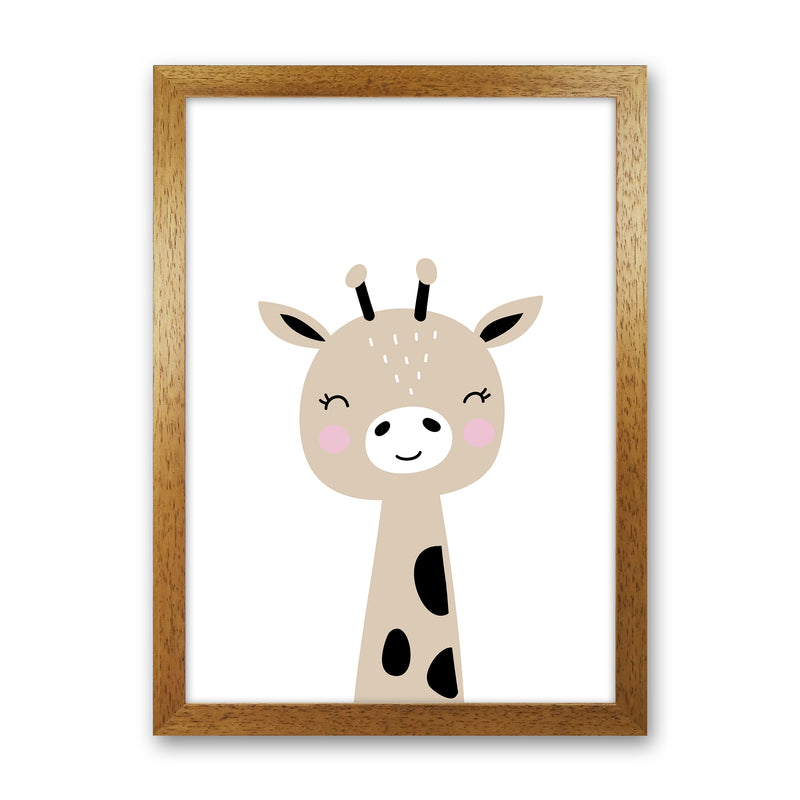 Giraffe Brown  Art Print by Pixy Paper Oak Grain