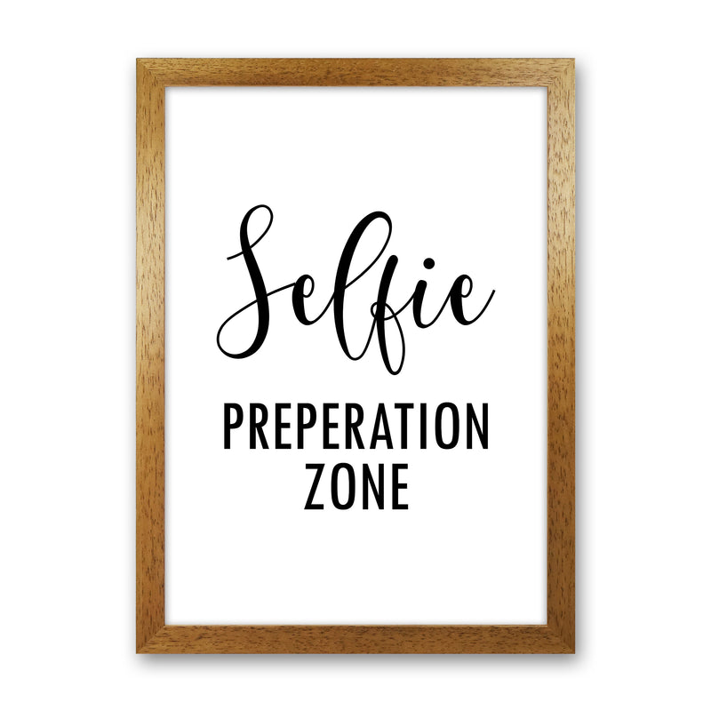 Selfie Preperation Zone  Art Print by Pixy Paper Oak Grain