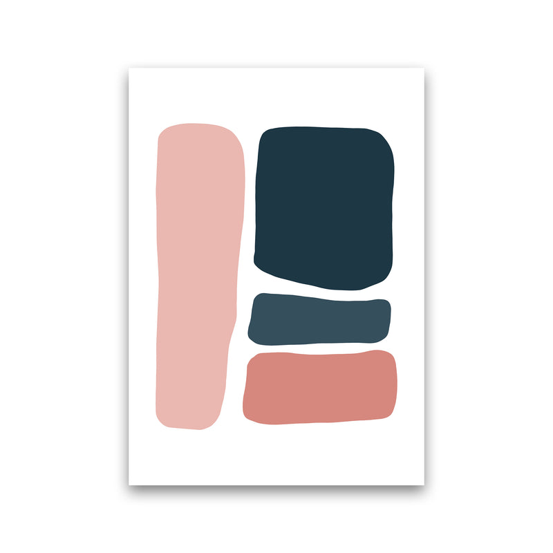 Pink And Navy Abstract Stones 3 Art Print by Pixy Paper Print Only