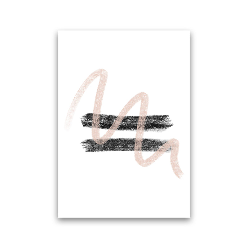 Dalia Chalk Pink And Black Line Contrast  Art Print by Pixy Paper Print Only