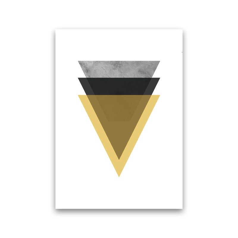 Geometric Mustard And Black Triangles  Art Print by Pixy Paper Print Only