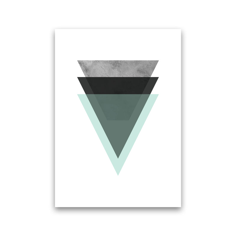 Geometric Mint And Black Triangles  Art Print by Pixy Paper Print Only