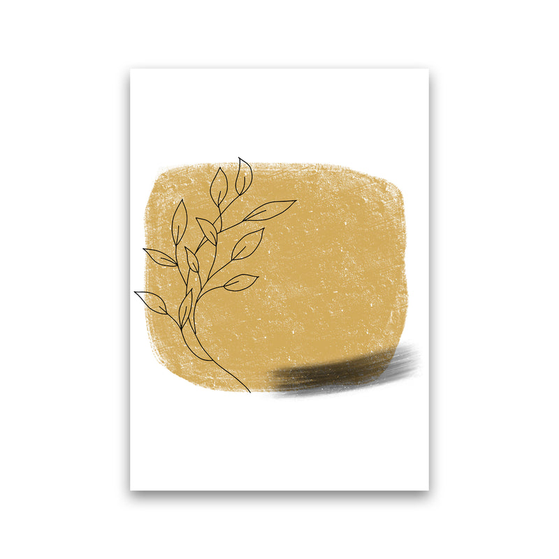 Dalia Chalk Gold Floral Square  Art Print by Pixy Paper Print Only