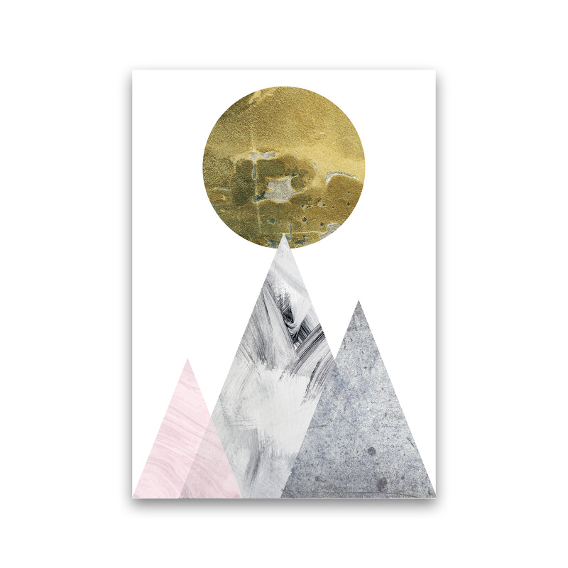 Luna Gold Moon And Mountains  Art Print by Pixy Paper Print Only