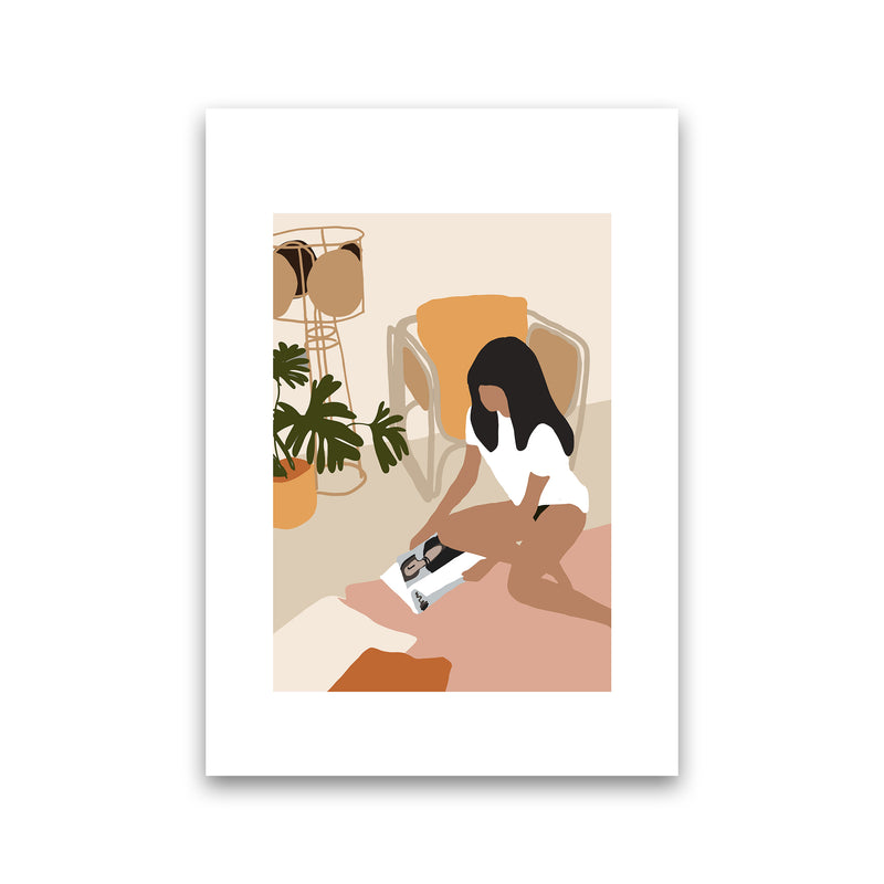 Mica Girl With Magazine N4  Art Print by Pixy Paper Print Only