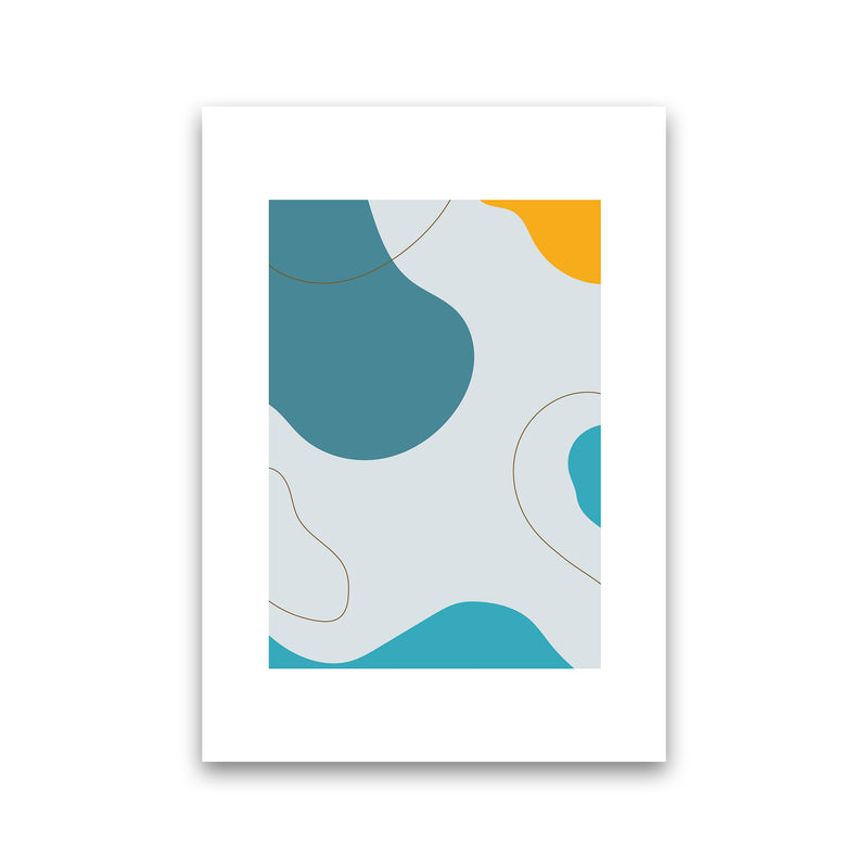 Mita Teal Abstract N16  Art Print by Pixy Paper Print Only