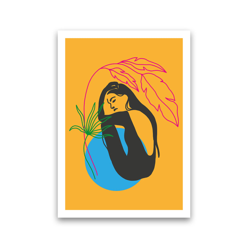 Girl Under Plant Yellow Neon Funk  Art Print by Pixy Paper Print Only