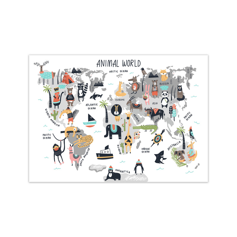 Animal World Map  Art Print by Pixy Paper Print Only