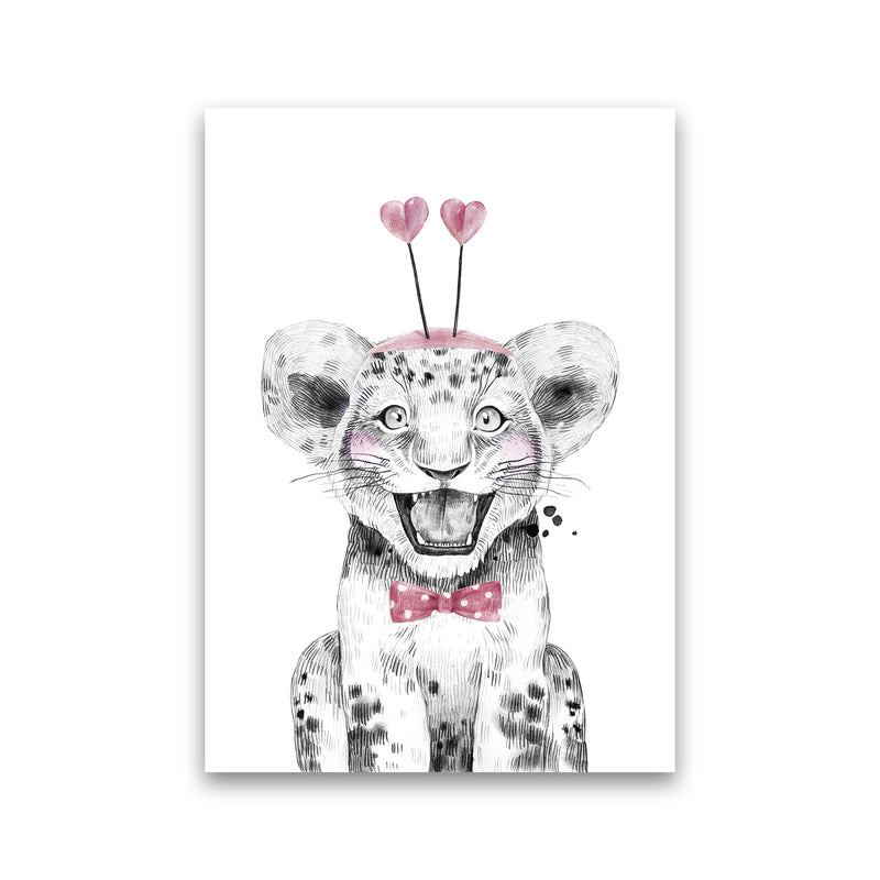 Safari Babies Tiger With Heart Hat  Art Print by Pixy Paper Print Only