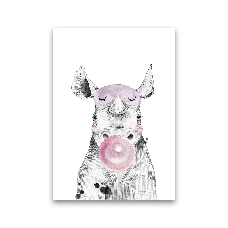 Safari Babies Rhino With Bubble  Art Print by Pixy Paper Print Only