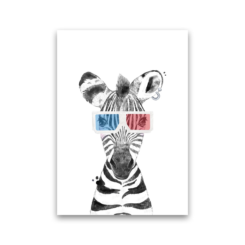Safari Babies Zebra With Glasses  Art Print by Pixy Paper Print Only