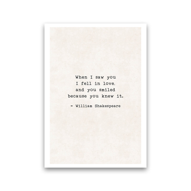 When I Saw You - Shakespeare  Art Print by Pixy Paper Print Only