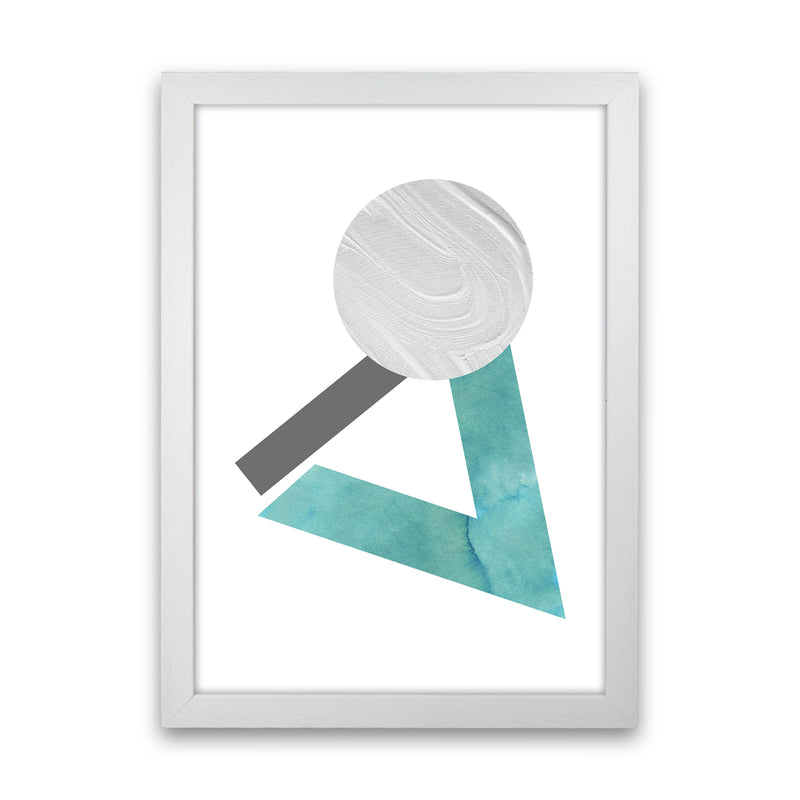 Marble Teal And Silver 3 Art Print by Pixy Paper White Grain