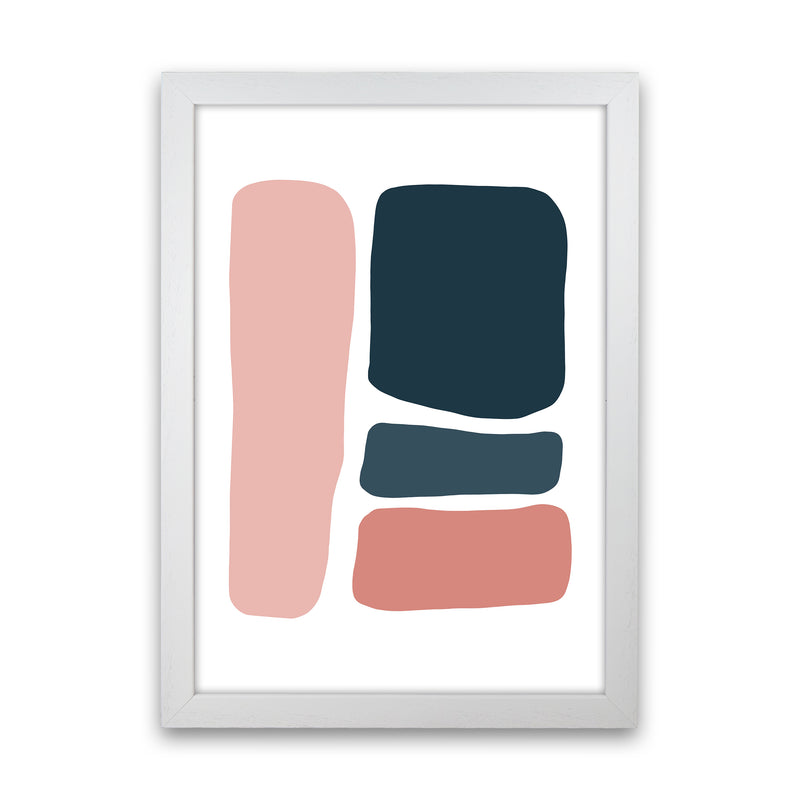 Pink And Navy Abstract Stones 3 Art Print by Pixy Paper White Grain