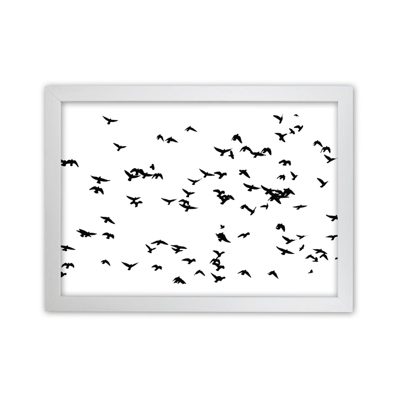 Flock Of Birds Landscape Art Print by Pixy Paper White Grain