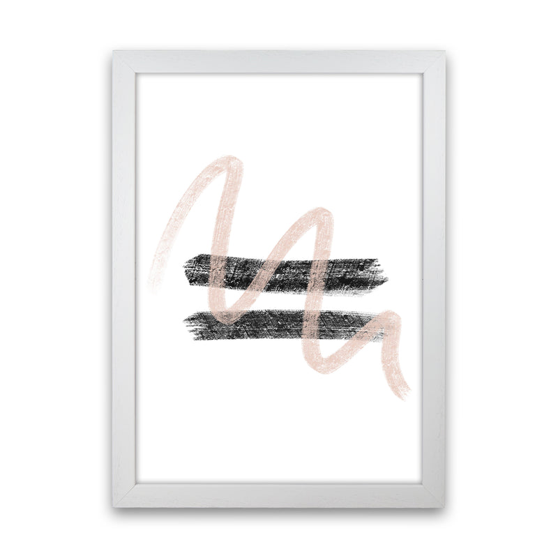 Dalia Chalk Pink And Black Line Contrast  Art Print by Pixy Paper White Grain