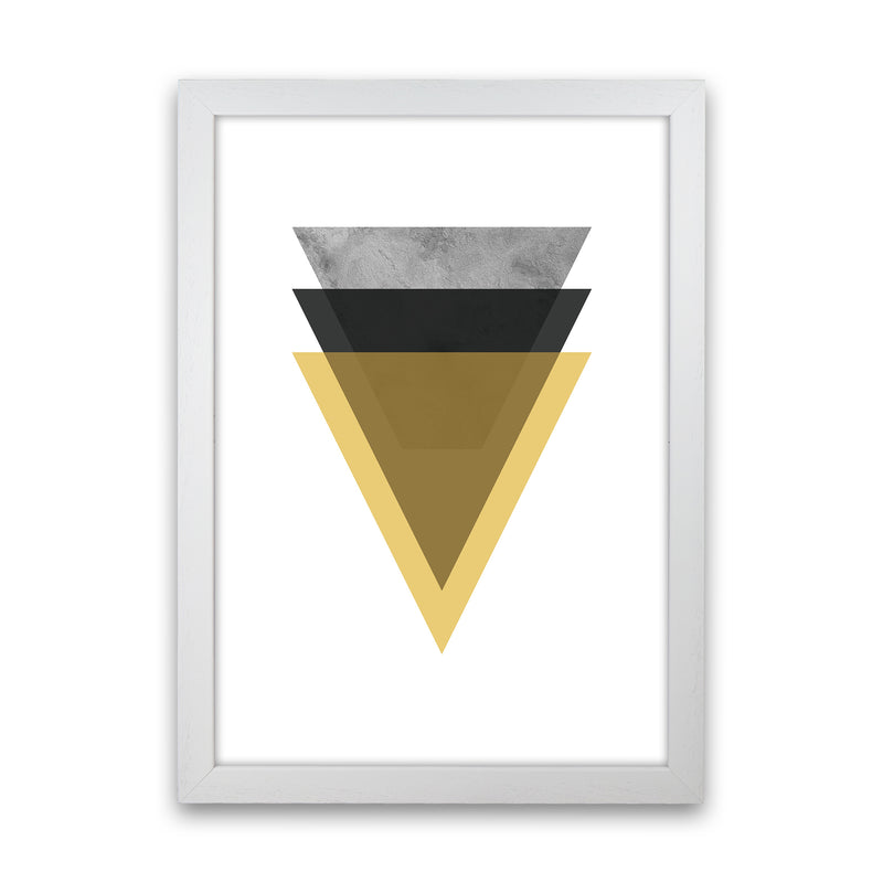 Geometric Mustard And Black Triangles  Art Print by Pixy Paper White Grain