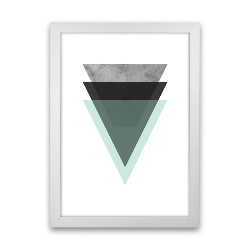 Geometric Mint And Black Triangles  Art Print by Pixy Paper White Grain