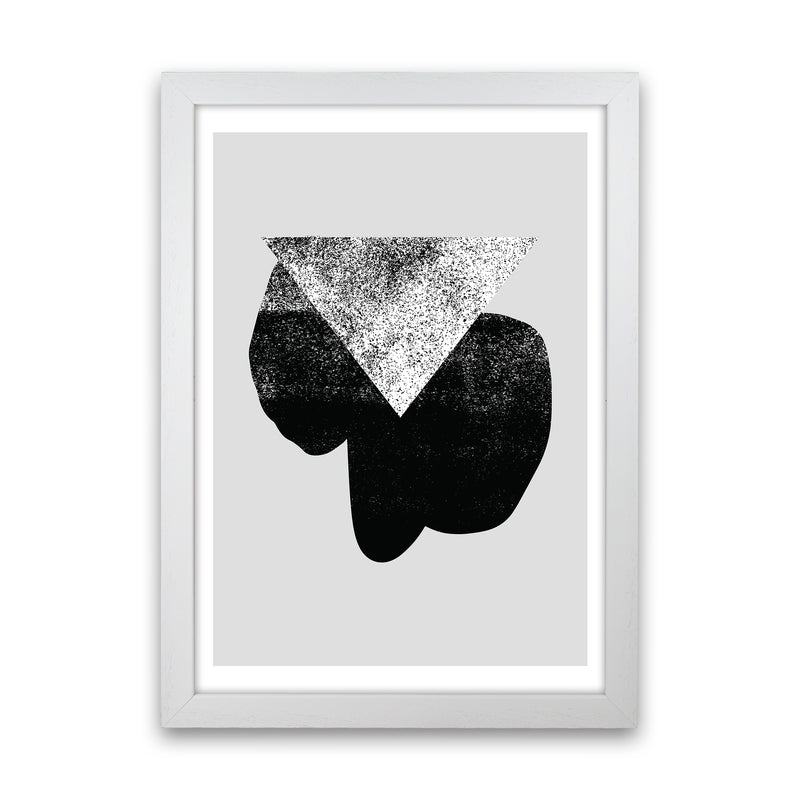 Graffiti Black And Grey Triangle  Art Print by Pixy Paper White Grain