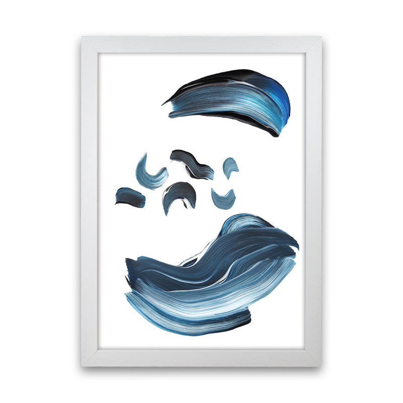 Dark Blue And Grey Paint Strokes  Art Print by Pixy Paper White Grain