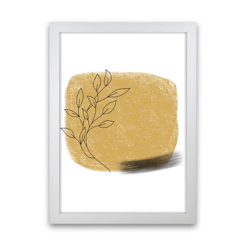 Dalia Chalk Gold Floral Square  Art Print by Pixy Paper White Grain