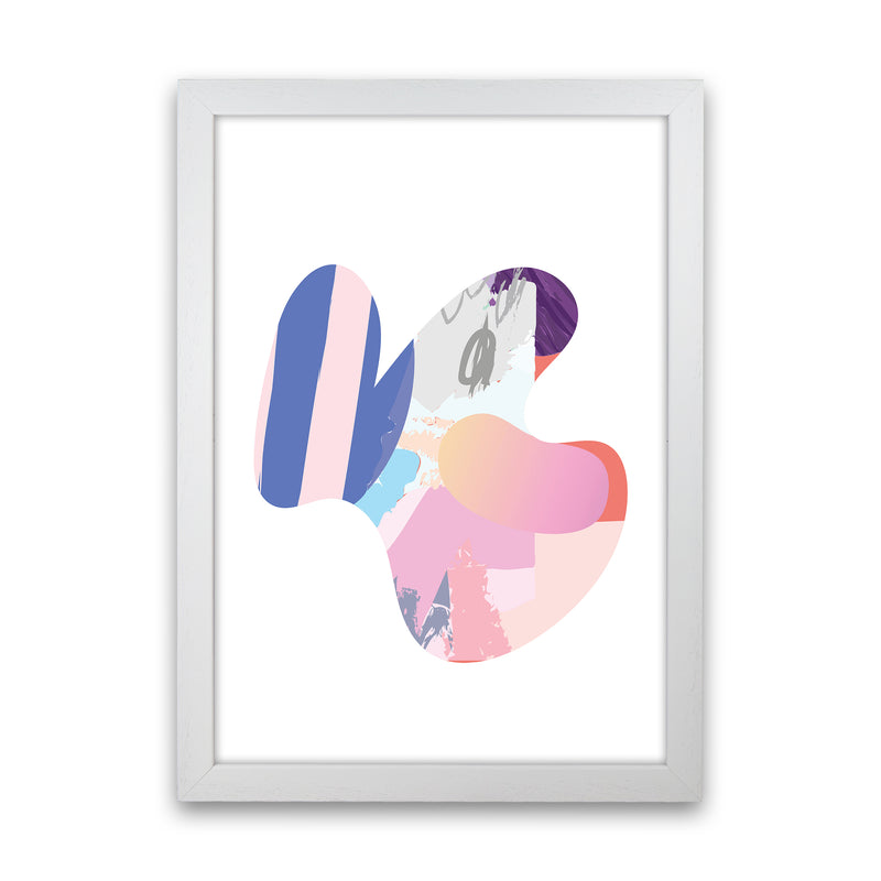 Pink Butterfly Abstract Shape  Art Print by Pixy Paper White Grain