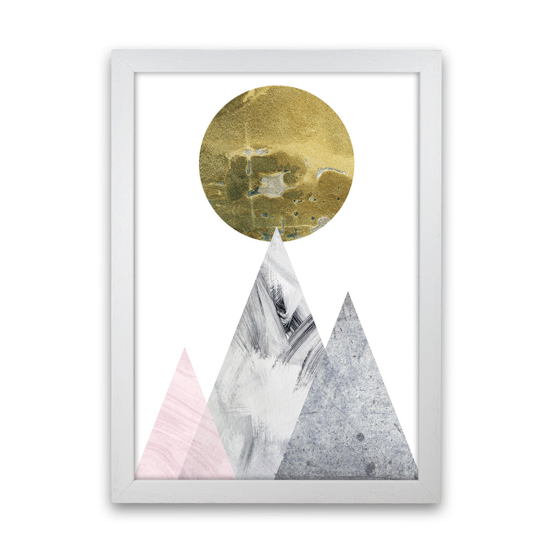 Luna Gold Moon And Mountains  Art Print by Pixy Paper White Grain