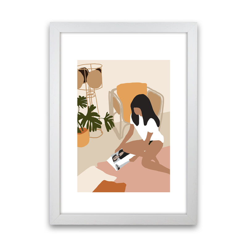 Mica Girl With Magazine N4  Art Print by Pixy Paper White Grain