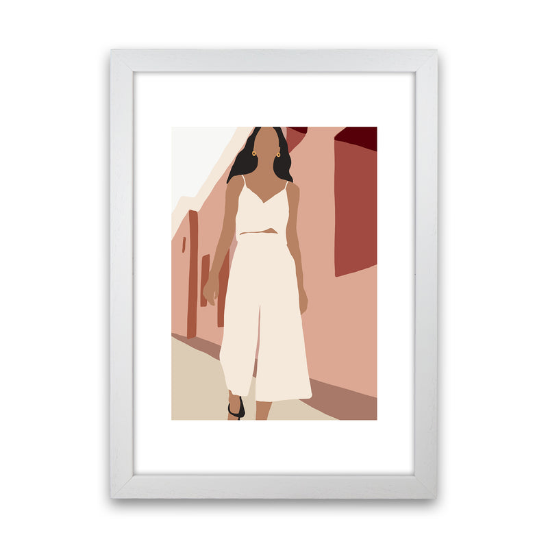 Mica Girl In Street N7  Art Print by Pixy Paper White Grain