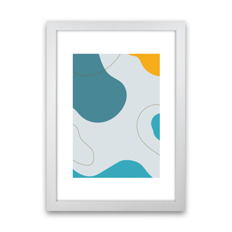 Mita Teal Abstract N16  Art Print by Pixy Paper White Grain