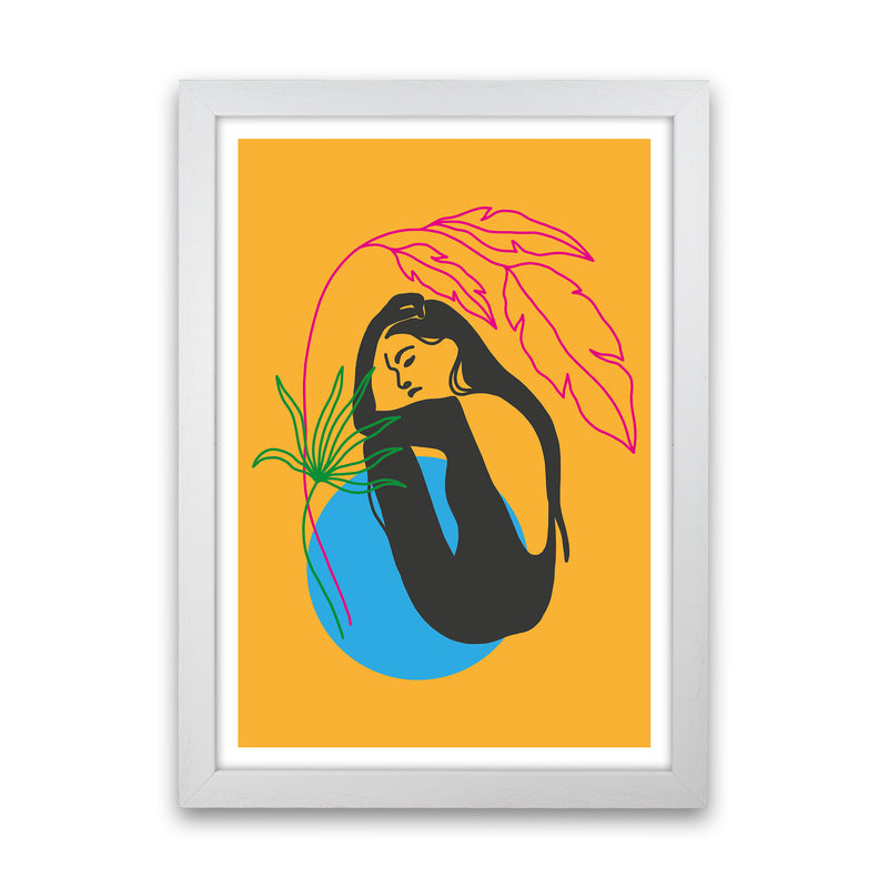Girl Under Plant Yellow Neon Funk  Art Print by Pixy Paper White Grain