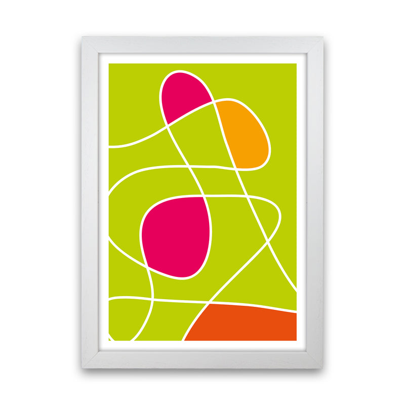 Lime Mess Neon Funk  Art Print by Pixy Paper White Grain
