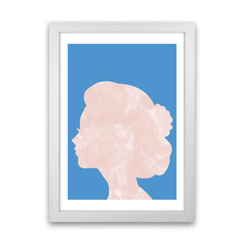 Marble Head Blue  Art Print by Pixy Paper White Grain