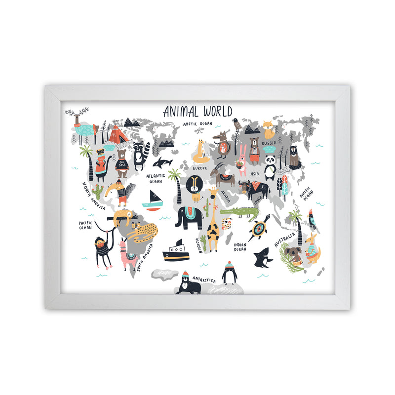 Animal World Map  Art Print by Pixy Paper White Grain