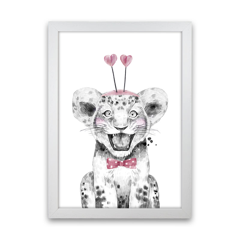 Safari Babies Tiger With Heart Hat  Art Print by Pixy Paper White Grain