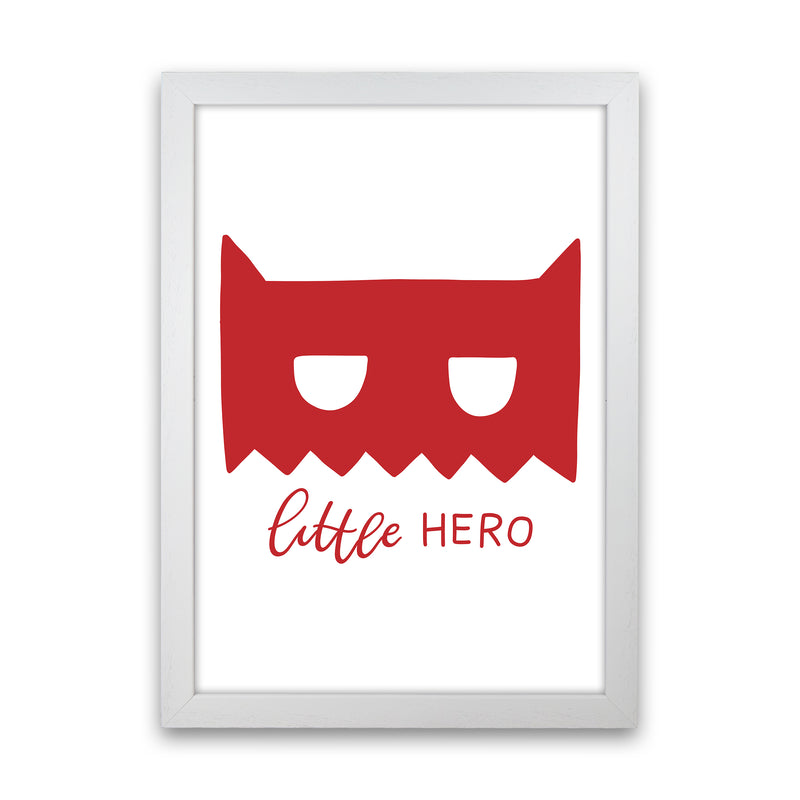 Little Hero Mask Red Super Scandi  Art Print by Pixy Paper White Grain