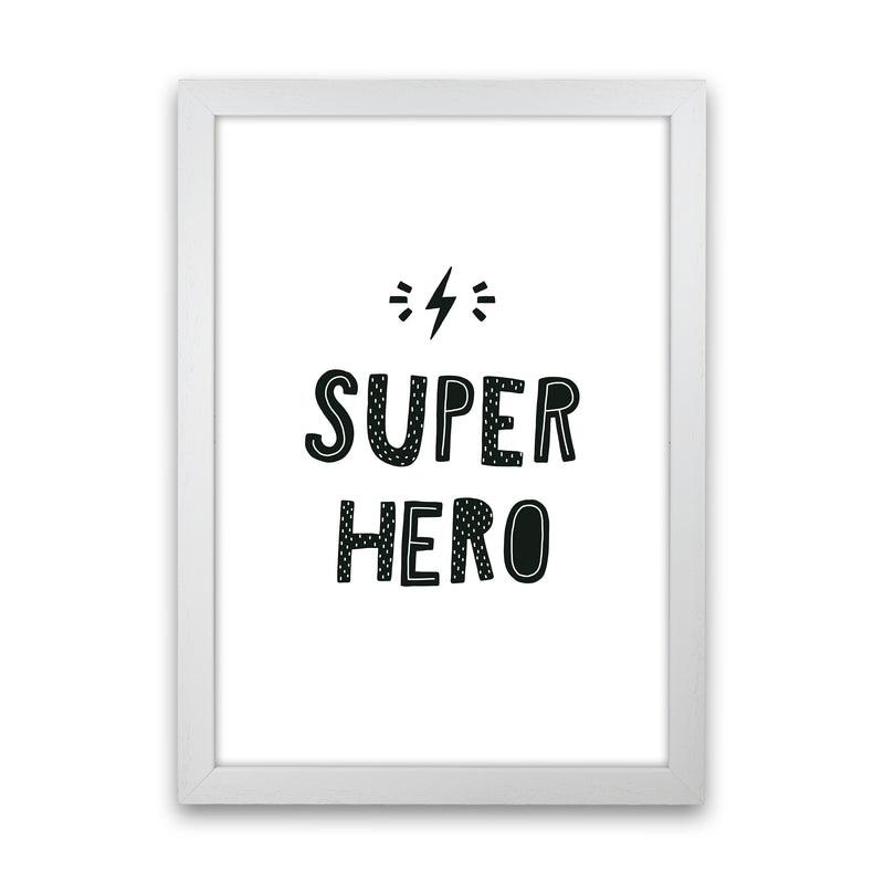 Super Hero Black Super Scandi  Art Print by Pixy Paper White Grain