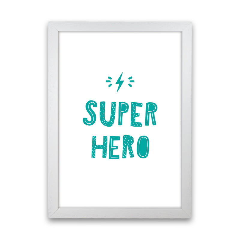 Super Hero Teal Super Scandi  Art Print by Pixy Paper White Grain