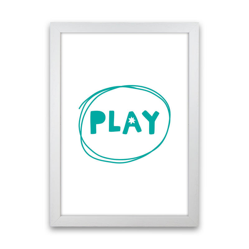 Play Teal Super Scandi  Art Print by Pixy Paper White Grain