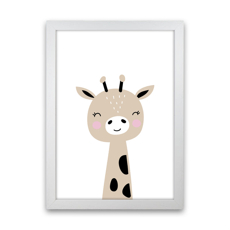 Giraffe Brown  Art Print by Pixy Paper White Grain