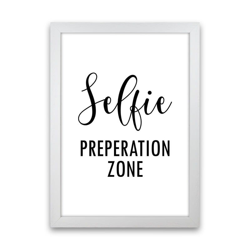 Selfie Preperation Zone  Art Print by Pixy Paper White Grain