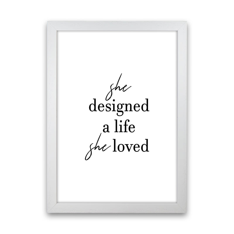 She Designed A Life  Art Print by Pixy Paper White Grain