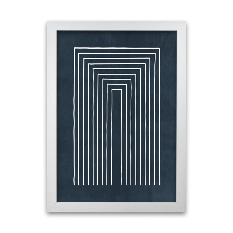 Lino Style Blue Geometric Lines A1 White Grain Frame
