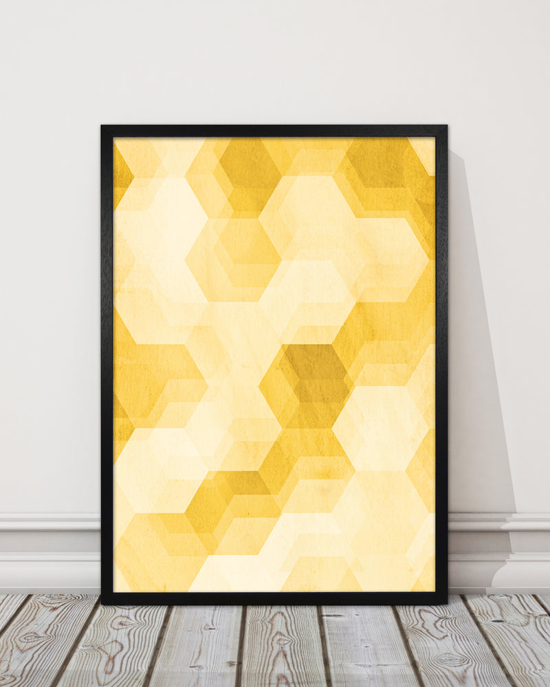 Set of 2 Yellow Hexagon Abstract Print A