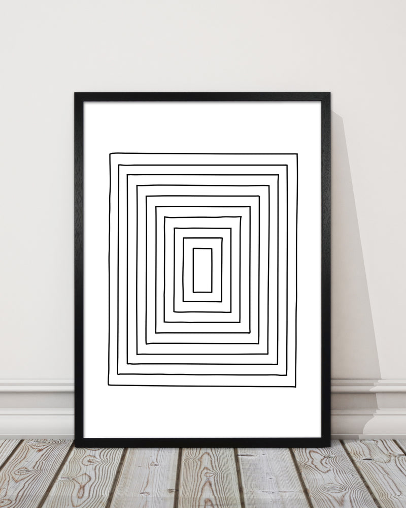 Geometric Set of 2 Black and White  Print B