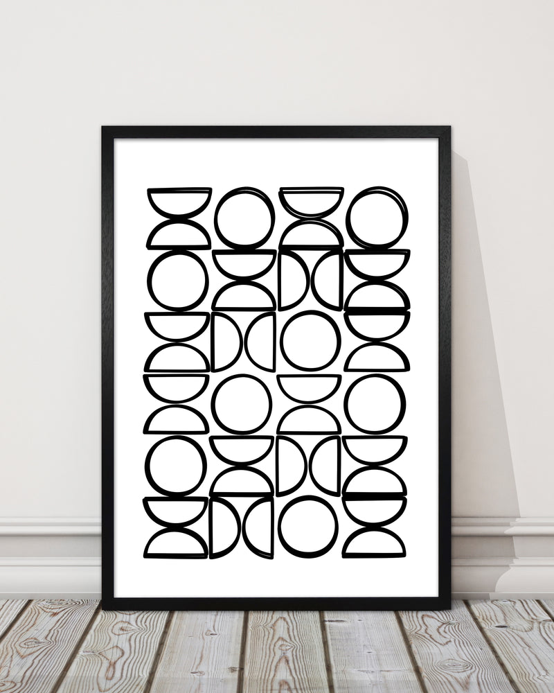 Black and White Mid Century Geometric Print A