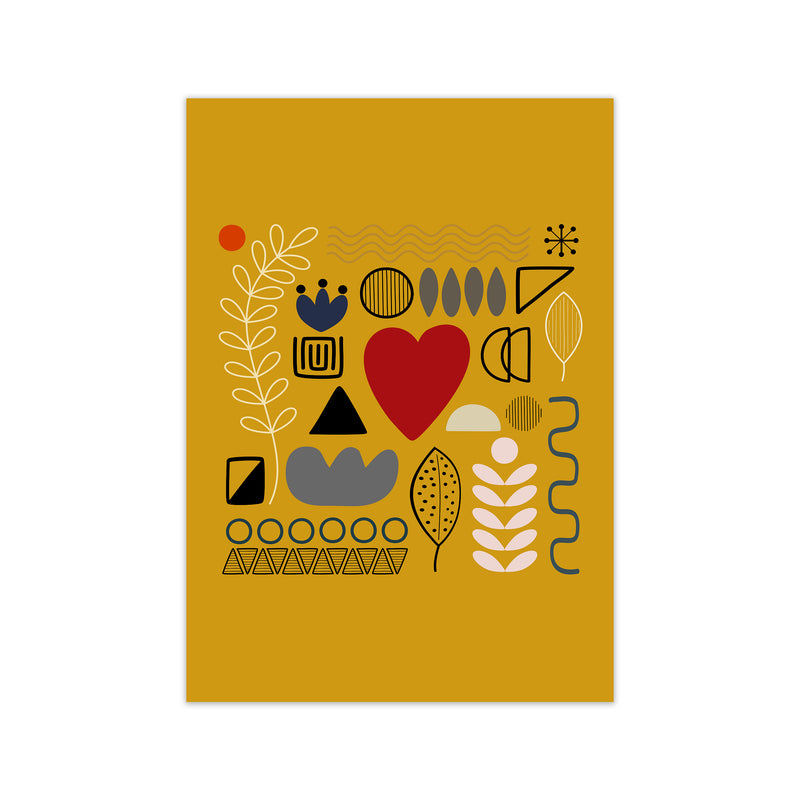 Yellow Scandinavian Abstract Shapes Original A1 Print Only