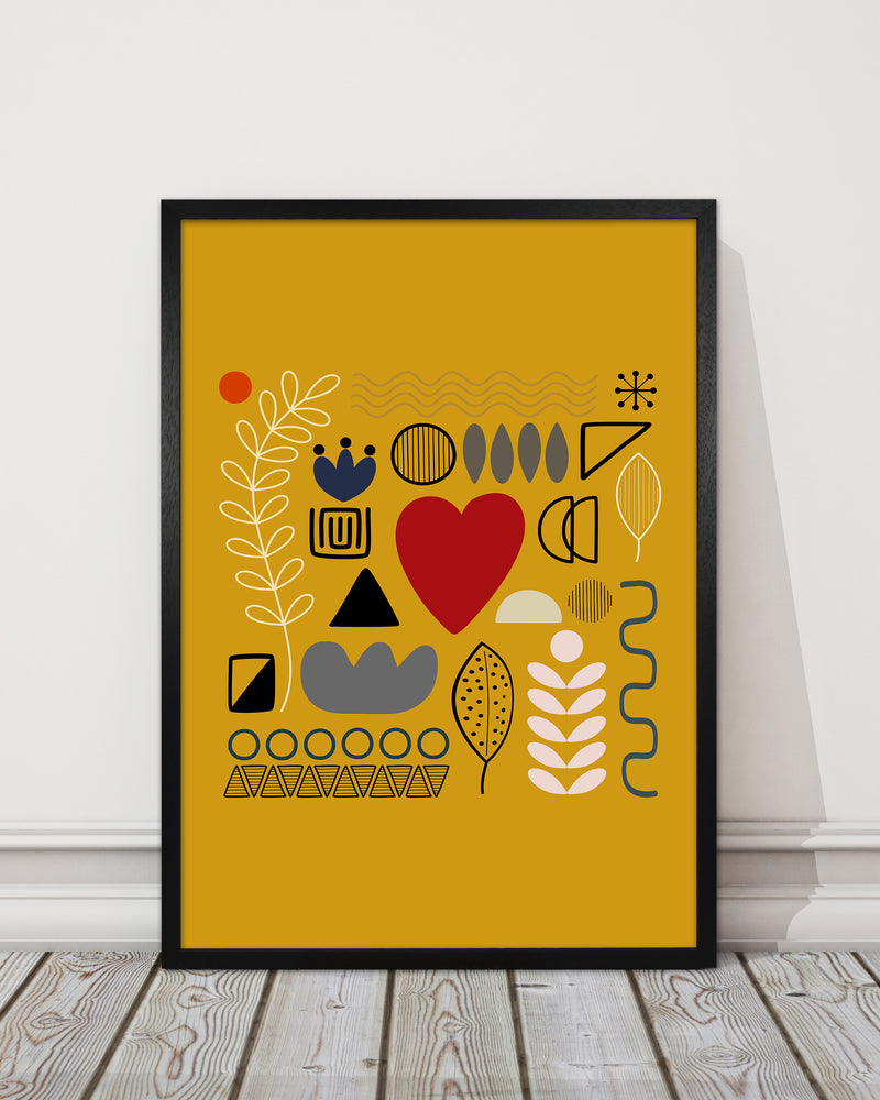 Yellow Scandinavian Abstract Shapes Original