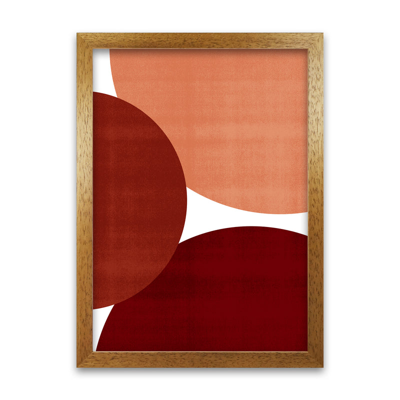 Abstract Art Reds Original  A1 Honey Oak Frame